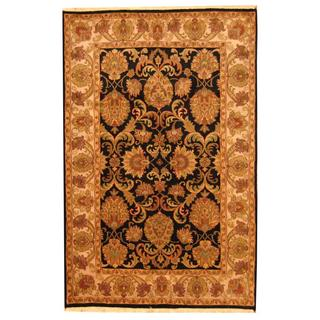 Herat Oriental Indo Hand-knotted Mahal Black/ Ivory Wool Area Rug (6' x 9')