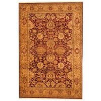 Herat Oriental Indo Hand-knotted Mahal Red/ Green Wool Rug (6' x 8'7) - 6' x 8'7