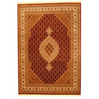 Herat Oriental Indo Hand-knotted Tabriz Red/ Ivory Wool and Silk Rug (5'7 x 8')