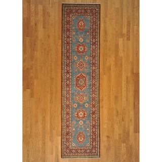 Hand-knotted Sky Blue Wool Kazak Runner Rug (3' x 11')