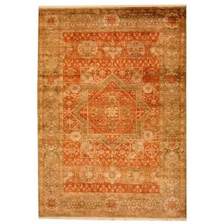 Herat Oriental Indo Hand-knotted Mahal Orange/ Green Wool Rug (6' x 8'10)