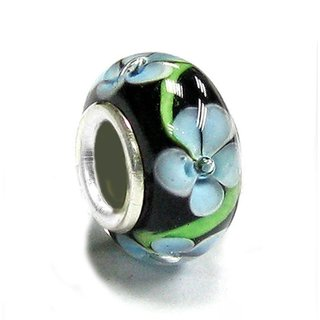 Queenberry Sterling Silver Black Blue Flower Glass European Bead Charm