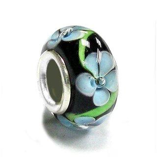 Queenberry Sterling Silver Black Blue Flower Glass European Bead Charm