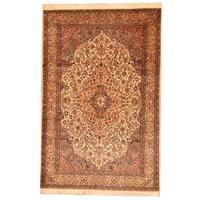 Herat Oriental Pak Persian Hand-knotted Tabriz Beige/ Blue Wool Rug (6' x 9') - 6' x 9'