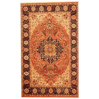 Herat Oriental Indo Hand-knotted Heriz Rust/ Navy Wool Rug (5'5 x 8'2)