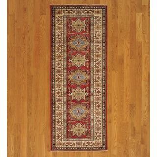 High Quality Kazakh Oriental Red Runner Rug (3' x 7')
