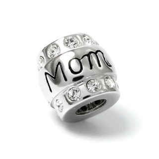 Queenberry Sterling Silver CZ Mom Mother Barrel European Bead Charm