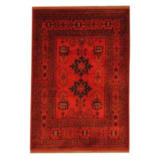 Herat Oriental Afghan Hand-knotted Tribal Khal Mohammadi Red/ Navy Wool Rug (3'3 x 4'9)