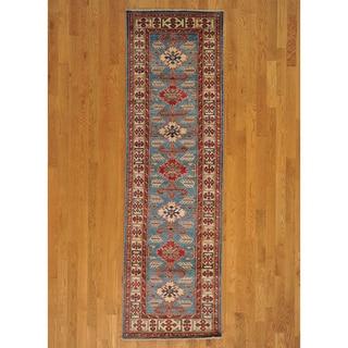 Wool Sky Blue Super Kazakh Oriental Runner Rug (3' x 9')