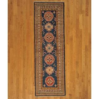 Hand Knotted Kazakh Runner Oriental Tribal Design Area Rug (2'7 x 8'1)