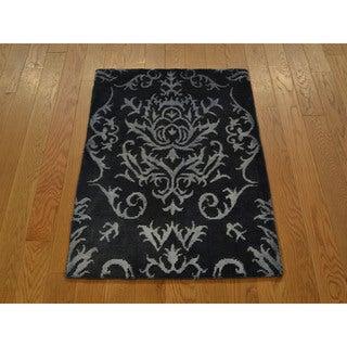 Overdyed Modern Nepali Oriental Handmade Wool and Silk Area Rug (2' x 3')