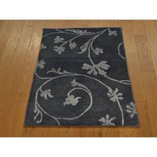 Wool and Silk Overdyed Modern Nepali Oriental Handmade Area Rug (2' x 2'10)