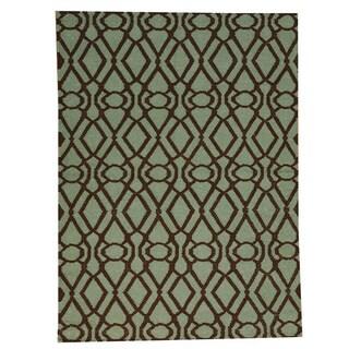 Hand-woven Light Green Durie Kilim Oriental Flat Weave Wool Rug (4'3 x 5'10)