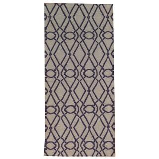 Hand-woven Geometric Durie Kilim Flat Weave Wool Runner Rug (2'8 x 5'10)