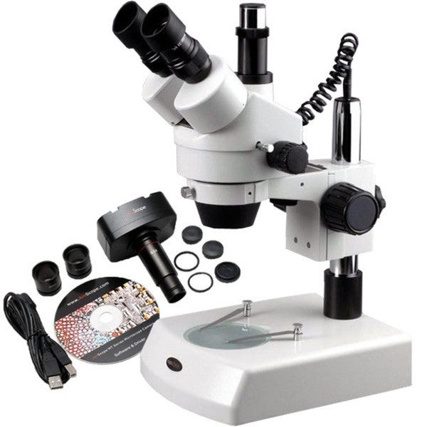 AmScope 3.5x-90x Trinocular Zoom Dual Halogen Microscope