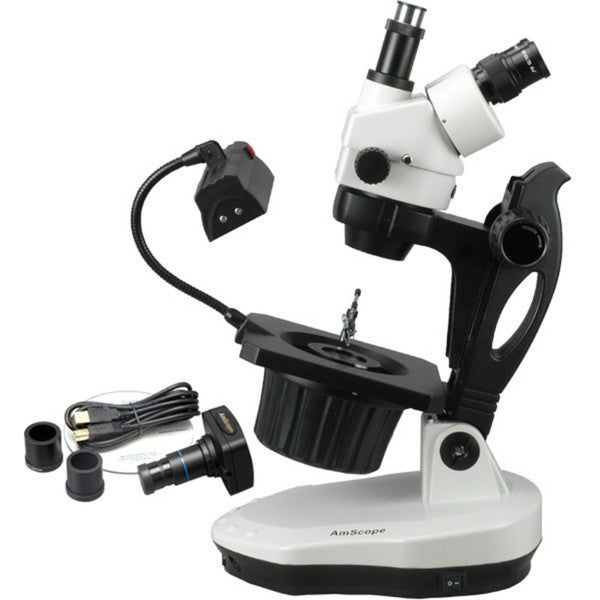 AmScope 10MP Camera 3.5x-90x Advanced Jewel Gem Microscope