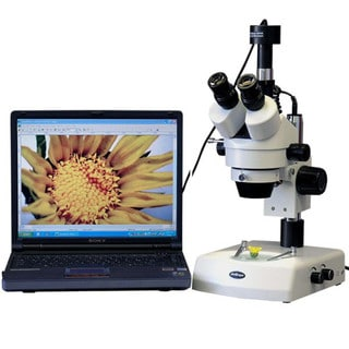 3.5x-90x Stereo Zoom Microscope with Dual Halogen Lights and 8MP Camera