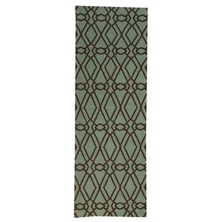 Hand-woven Reversible Oriental Light Green Wool Runner Rug (2'8 x 7'10)