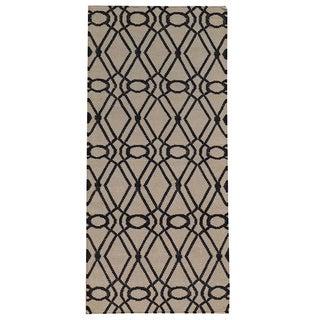 Hand-woven Geometric Durie Kilim Ivory Wool Runner Rug (2'9 x 6')