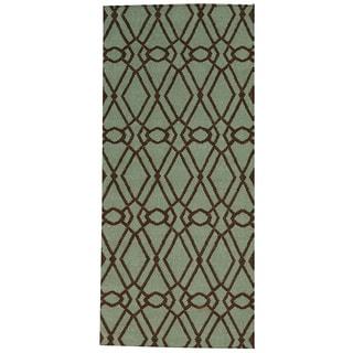 Hand-woven Light Green Durie Kilim Oriental Wool Runner Rug (2'9 x 6')