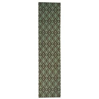 Hand-woven Reversible Durie Kilim Light Green Wool Runner Rug (2'9 x 11'9)