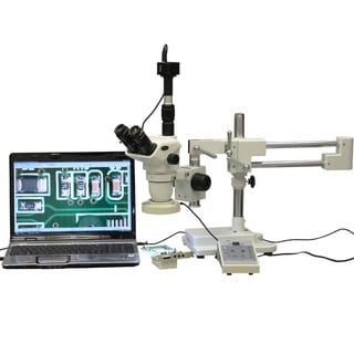 2x-225x Boom Stand Stereo Microscope with 8-Zone 80-LED Light and 9MP Digital Camera