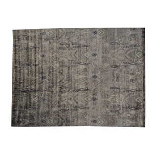 Hand-knotted Ikat Design Modern Rayon from Bamboo Silk Oriental Wool Rug (8'10 x 12'1)