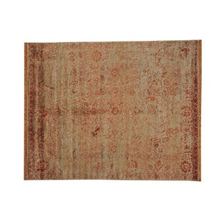 Hand-knotted Oriental Rayon from Bamboo Silk and Wool Rug (8' x 10')