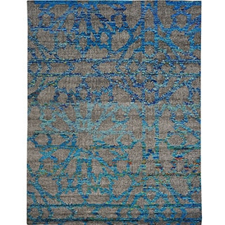 Hand-knotted Sari Silk Colorful Arts And Crafts Oriental Wool Rug (2' x 2')