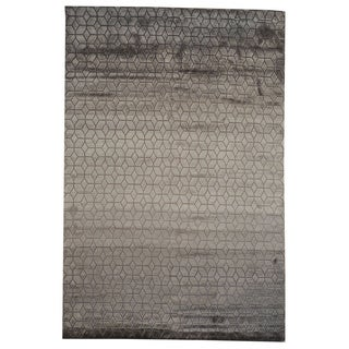 Hand-knotted and Viscose Rayon from Bamboo Modern Wool Rug (6' x 9')