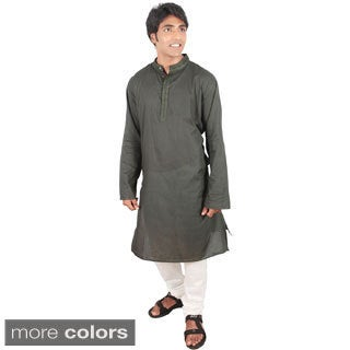 Indian Clothing Men's Fitted Long Kurta Tunic Banded Collar Embellished Placket Shirt Set