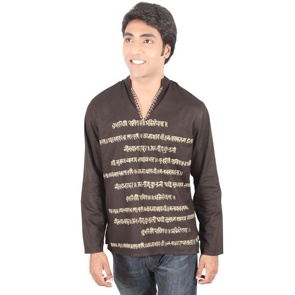 Handmade Indian Clothing Men's Short Fitted Kurta Tunic with Decorative Text (India)