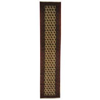 Village Paisley Design Oriental Wool Runner Rug (3' x 13'1)