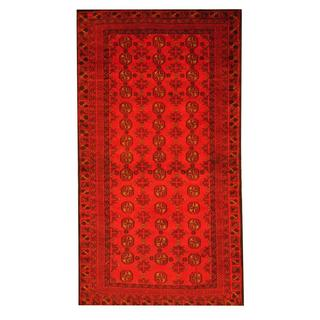 Herat Oriental Afghan Hand-knotted Tribal Semi-antique Balouchi Red/ Ivory Wool Rug (3'6 x 6'5)