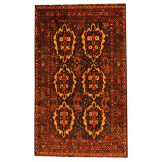 Herat Oriental Afghan Hand-knotted Tribal Semi-antique Balouchi Navy/ Gold Wool Rug (3'10 x 6'2)