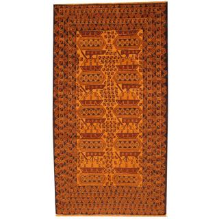 Herat Oriental Afghan Hand-knotted Tribal Semi-antique Balouchi Gold/ Beige Wool Rug (3'10 x 7'2)