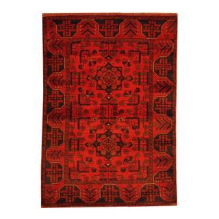 Herat Oriental Afghan Hand-knotted Tribal Khal Mohammadi Rust/ Navy Wool Rug (3'4 x 4'10)