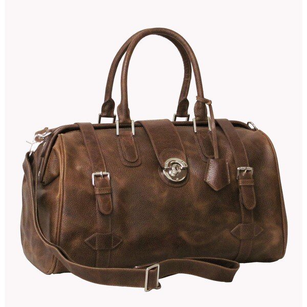 Amerileather Waxy Brown Langam 17-inch Carry-on Leather Duffel Bag