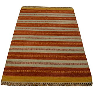 Hand-woven Oriental Striped Durie Kilim Wool Rug (2'10 x 4'9)