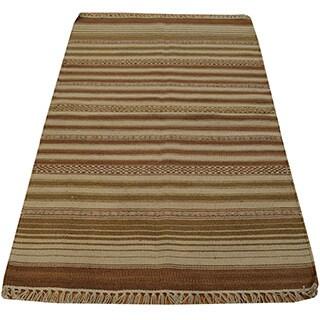 Hand-woven Oriental Reversible Durie Kilim Wool Rug (2'10 x 5')