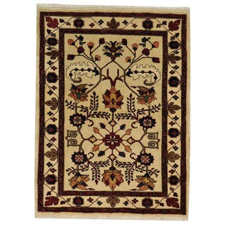 Hand-knotted Persian Heriz Ivory Wool Rug (3'10 x 5'2)
