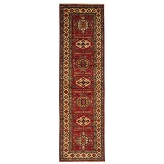 Hand-knotted Oriental Super Kazak Wool Runner Rug (2'8 x 9'4)