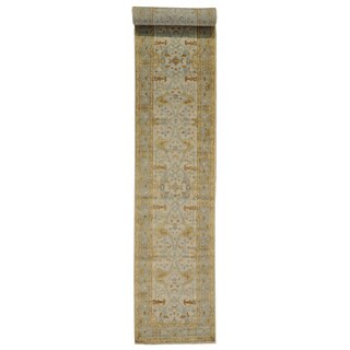 XL Washed Out Oushak Wool Runner Rug (2'7 x 17'8)