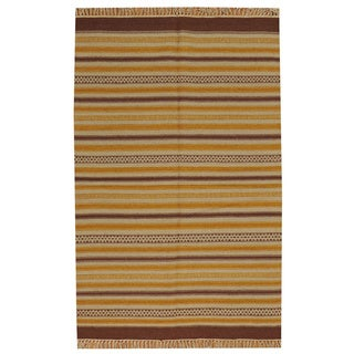Hand-woven Striped Flat Weave Durie Kilim Reversible Wool Rug (3'10 x 6')