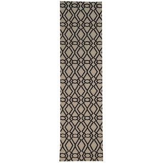 Hand-woven Durie Kilim Geometric Wool Runner Rug (2'8 x 10')