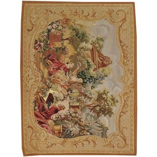 Hand-woven Wall Hanging Aubusson Tapestry Wool Rug (4'9 x 6'4)