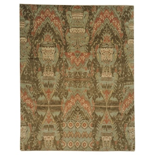 Hand-knotted Light Green Ikat Usbek Design Wool Rug (8'1 x 10'3)