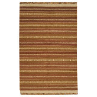 Hand-woven Striped Flat Weave Reversible Durie Kilim Wool Rug (4' x 6')