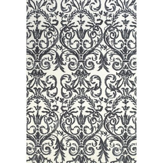 Grand Bazaar Power Loomed Polyester Karlin Rug in Slate / White 2' x 3'