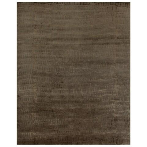 Grand Bazaar Hand-knotted Wool & Art Silk Radiance Rug in Slate 2' x 3' - 2' x 3'